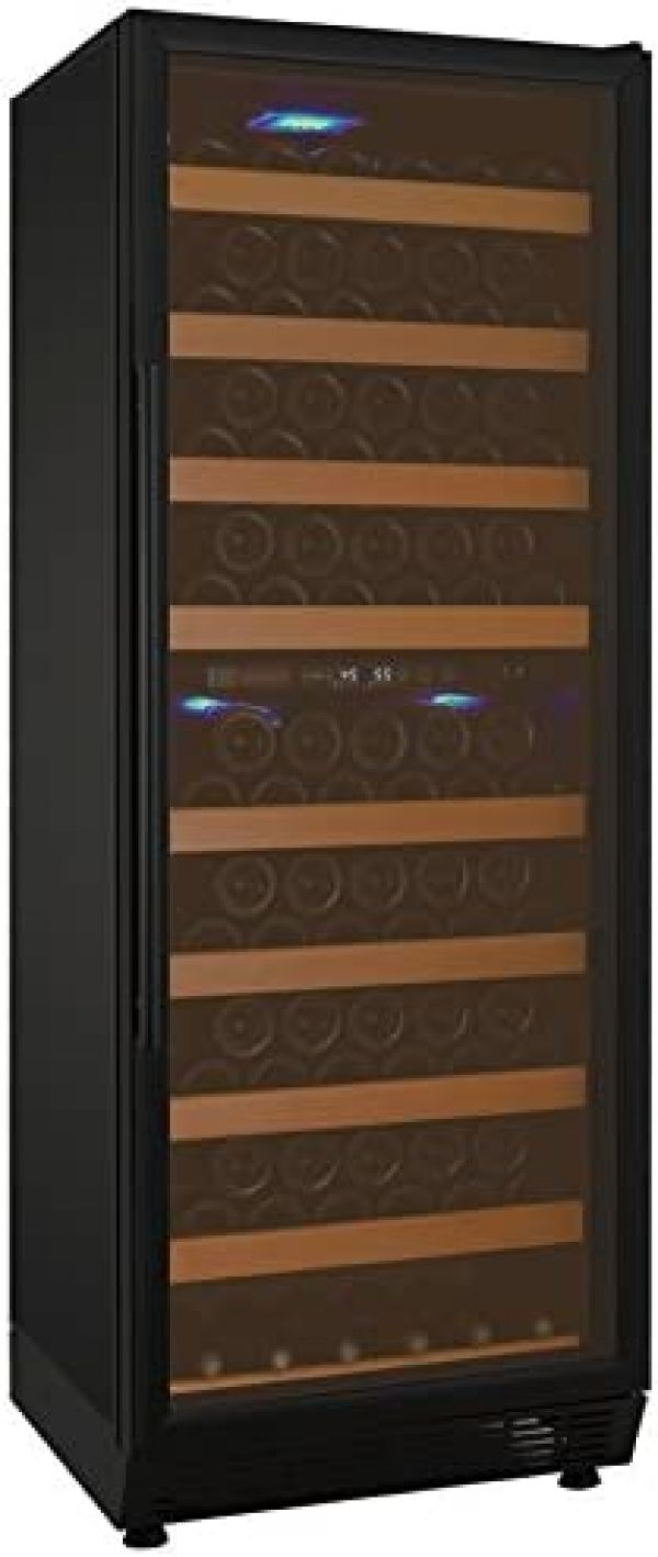 Allavino YHWR99-2BRN 99 Bottle Dual-Zone Wine Cellar Refrigerator - Black Door with Hinge on Right