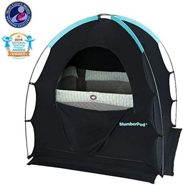 SlumberPod Privacy Pod for Traveling with Babies and Toddlers: Easy to Set Up Blackout Dark and Private Sleeping Space - Canopy Compatible with Graco Pack 'n Play, Lotus Travel Crib, Baby Bjorn