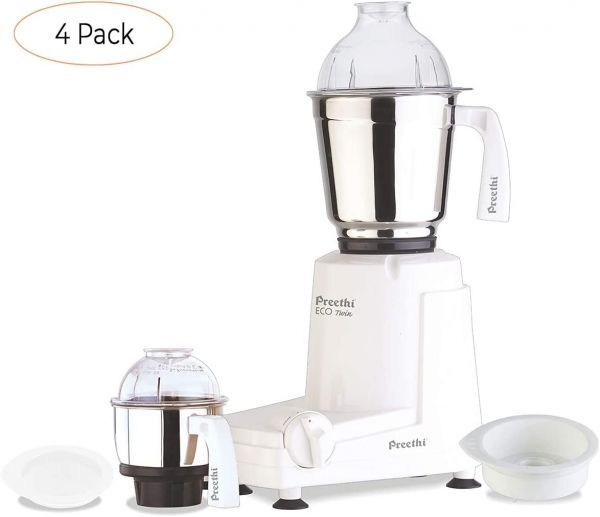 Preethi Eco Twin Jar Mixer Grinder, 550-Watt (Four Pack)