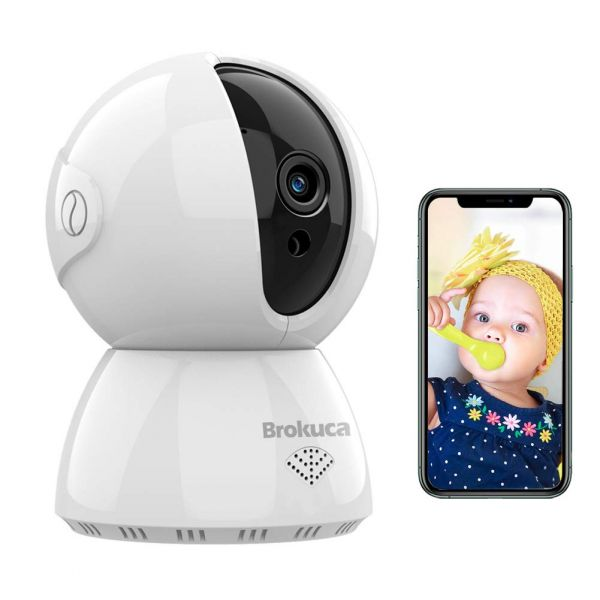 Brokuca 1080P FHD Baby Monitor with Camera and Audio, Two-Way Audio 2.4GHz WiFi Camera Indoor with Night Vision in Motion Detection, Works with Alexa