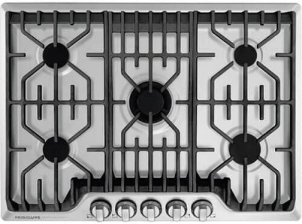 Frigidaire Professional 30 Inch Gas, Stainless Steel 5-Burner with Liquid Propane Conversion Kit, FPGC3077RS Cooktop