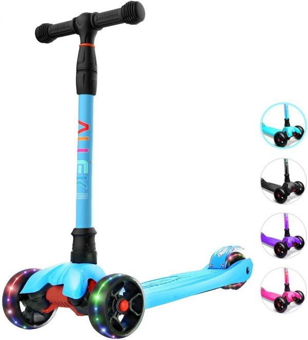 Allek Kick Scooter B02, Lean N Glide Scooter with Extra Wide PU Light-Up Wheels and 4 Adjustable Heights for Children from 3-14yrs (Aqua Blue)