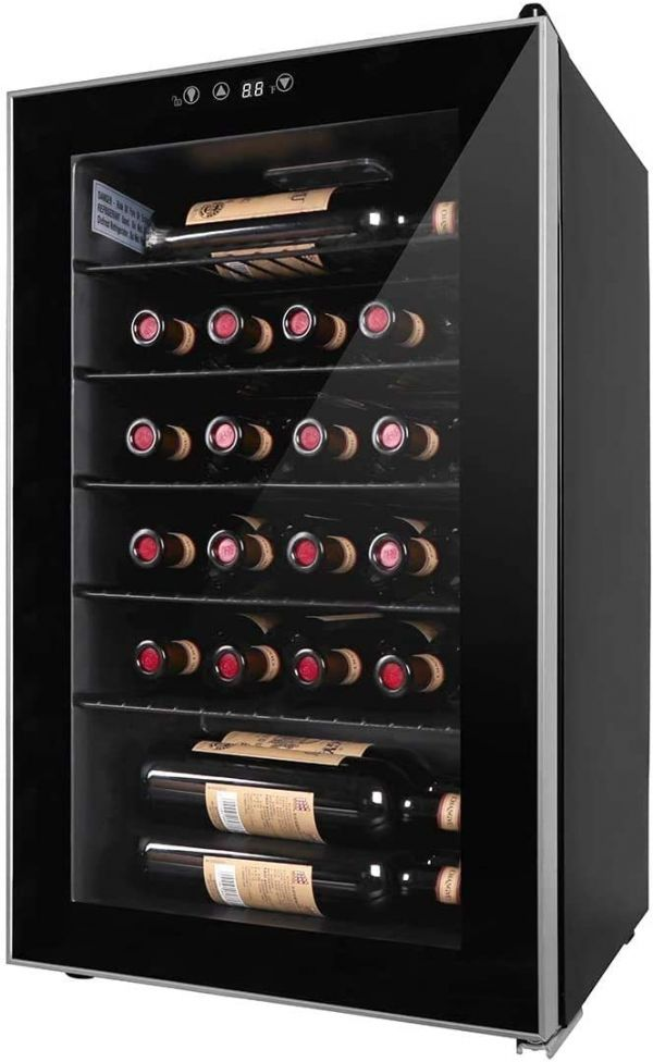 24 Bottles Wine Cooler - Compressor Chiller Cellar - Freestanding Single Zone Fridge for Wines, Champagne - with Digital Temperature Display and Double-layered Glass Door