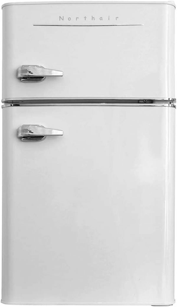 Northair 2-Door Mini Refrigerator with Handle, 3.2 Cubic Feet Capacity Compact Fridge for Dorm, Garage, Camper, Basement, Hotel or Office, Portable Refrigerator and Freezer with Fruit Vegetable Box