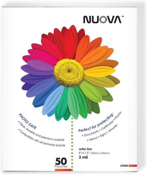 Nuova LP50H Thermal Laminating Pouches 9 x 11.5 Inches, Letter Size, 50-Sheets (3-mil)