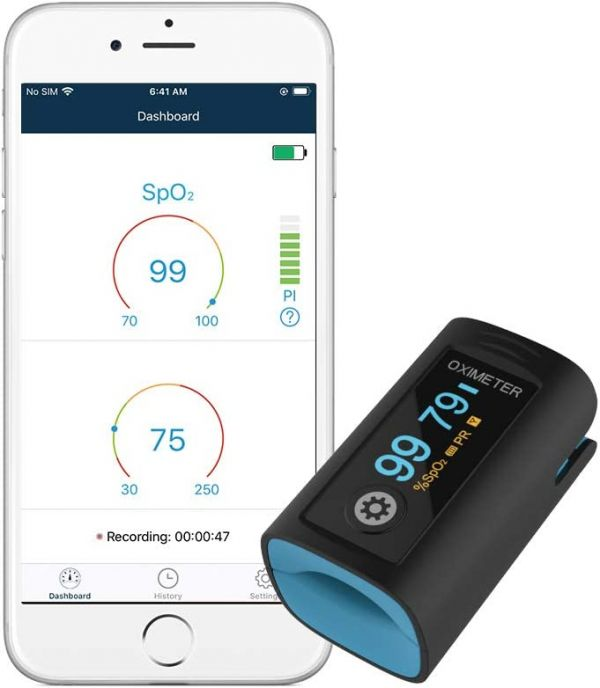 Wellue Fingertip Blood Oxygen Saturation Monitor with Alarm, Batteries, Carry Bag & Lanyard for Wellness Use PC-60FW Bluetooth