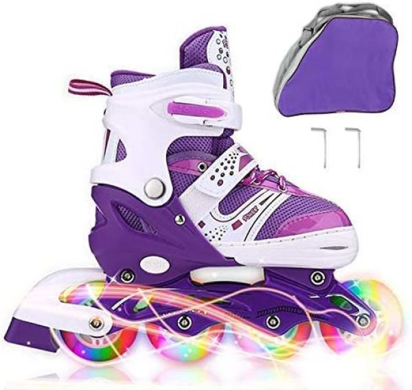 JIFAR Youth Children's Inline Skates for Kids, Adjustable Inline Skates with Light Up Wheels for Girls Boys, Indoor&Outdoor Ice Skating Equipment Small&Medium Size.