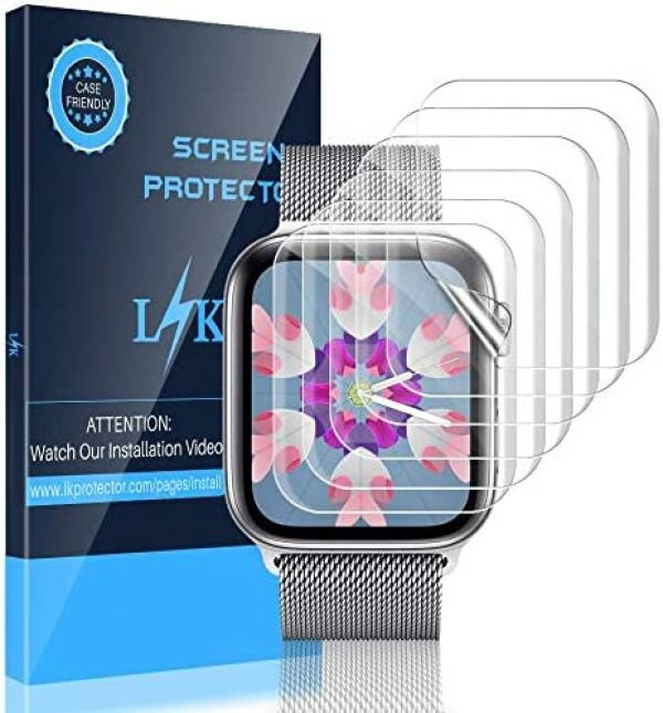 LK [6 Pack] Screen Protector for Apple Watch 38mm Series 3 2 1 and 40mm Series 4 5 - Max Coverage Bubble-Free Anti-Scratch iWatch 38mm / 40mm Flexible TPU Clear Film