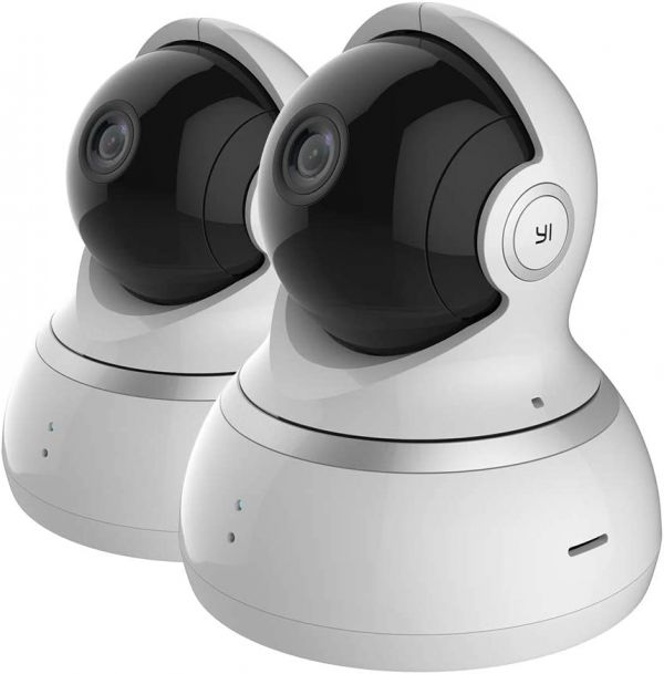 YI Dome Security Camera 2pc, 1080p HD Indoor Pan/Tilt/Zoom IP Security Surveillance System with 24/7 Emergency Response, Night Vision, Motion Tracking, Cloud Service - Compatible with Alexa
