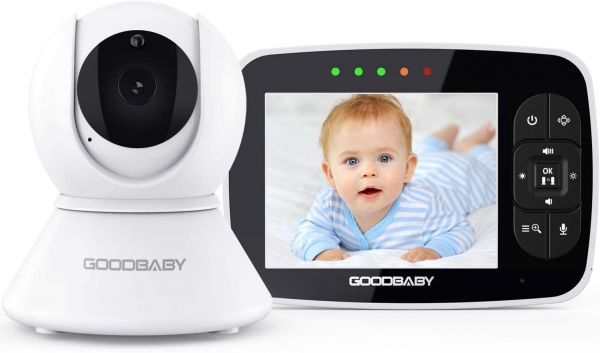 "Baby Monitor with Remote Pan-Tilt-Zoom Camera|Keep Babies Safe with 3.5"" Large Screen, Night Vision, Talk Back, Room Temperature, Lullabies, 960ft Range by GoodBaby SM35PTZ"