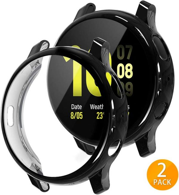 Tensea Compatible with Galaxy Watch Active2 Case 44mm, 2 Packs Soft TPU Bumper Full Around Screen Protector Cover for Samsung Galaxy Watch Active 2 44mm (Black, 44mm)