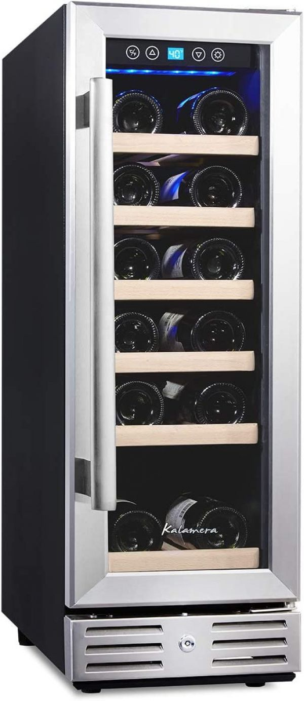 Kalamera 12 Wine Cooler 18 Bottle Built-in or Freestanding with Stainless Steel & Double-Layer Tempered Glass Door and Temperature Memory Function
