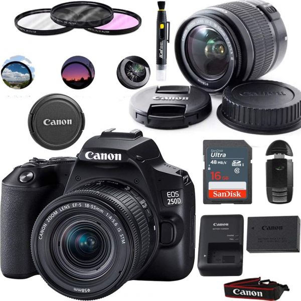 Canon EOS 250D DSLR Camera with EF-S 18-55mm Lens - Basic Accessories Bundle