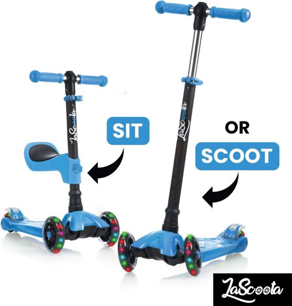 Lascoota 2-in-1 Kick Scooter with Removable Seat Great for Kids & Toddlers Girls or Boys – Adjustable Height w/Extra-Wide Deck PU Flashing Wheels for Children from 2-14 Years Old - Packaging May Vary