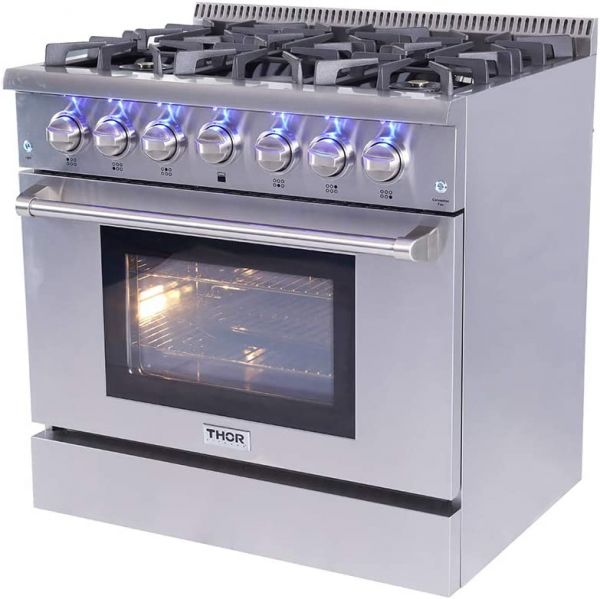 Thor Kitchen Free Standing Freestanding Professional Style Gas Range with Burners, Convection Fan, Cast Iron Grates, and Blue Porcelain Oven Interior, in Stainless Steel (HRG3618U)