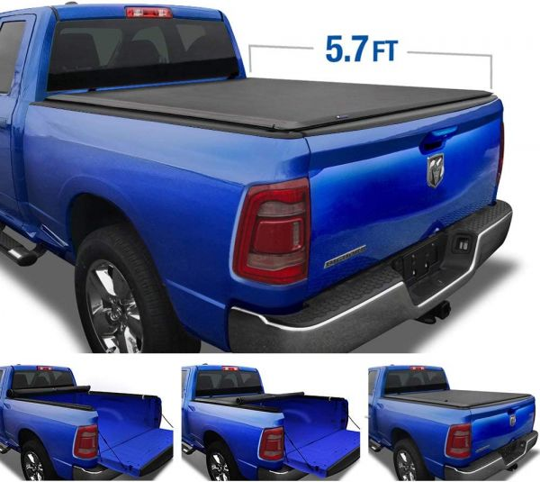 Tyger Auto T1 Soft Roll Up Truck Bed Tonneau Cover for 2019-2020 Ram 1500 New Body Style | 5.7 Bed | Not for Classic | Does Not Fit with Multi-Function (Split) Tailgate or RamBox | TG-BC1D9046