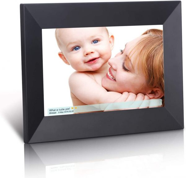 Dhwazz Digital Photo Frame, 8 Inch WiFi 16GB IPS HD Electronic Picture Frames with LCD Touch Screen, Share Moments Instantly via Mobile APP, Support Slideshow, USB and SD Card, Wall-Mountable