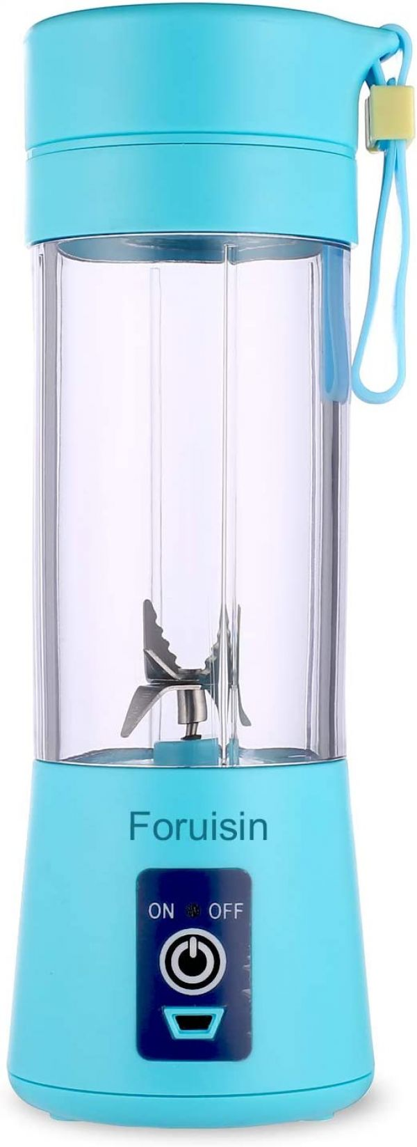 Portable Personal Blender, Household Juicer Fruit Shake Mixer -Six Blades, 380ml Baby Cooking Machine with USB Charger Cable (Blue)