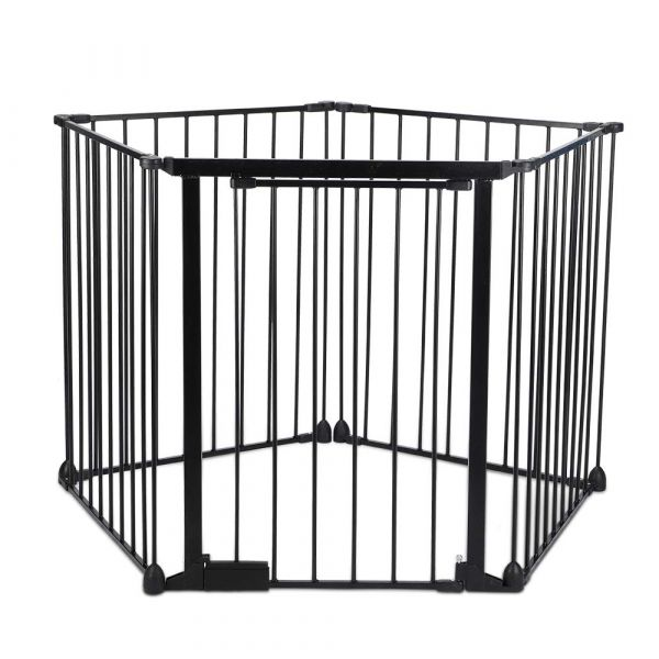 Fireplace Fence, Baby Safety Gate, 5-in-1 Wide Barrier Gate with Walk-Through Door in Two Directions, Add/Decrease Panels Directly, Wall-Mount Metal Gate for Pet & Child, (Black, 5 Panel)