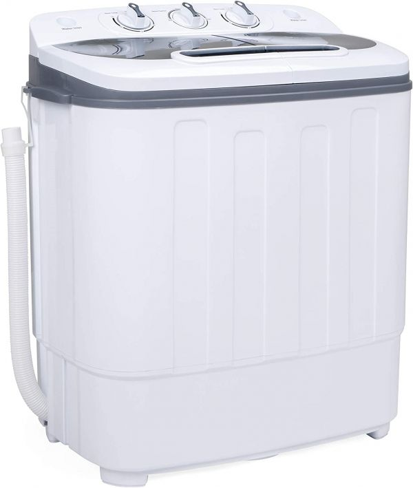 Best Choice Products Portable Compact Twin Tub Laundry Machine & Spin Cycle w/Hose, 13lbs Capacity - White/Gray