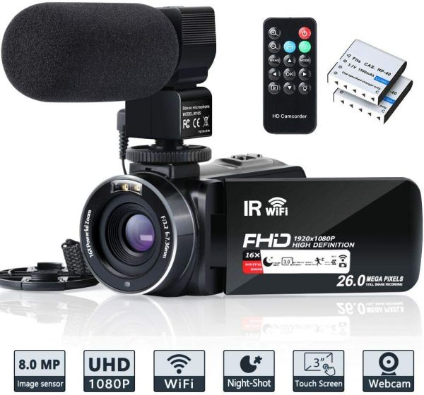 Video Camera Camcorder WiFi IR Night Vision FHD 1080P 30FPS YouTube Vlogging Camera Recorder 26MP 3.0 Touch Screen 16X Digital Zoom Camcorder with Microphone,Remote and 2 Batteries