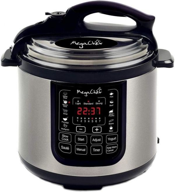 MegaChef MCPR120A 8 Quart Digital Pressure Cooker with 13 Pre-Set Multi Function Features