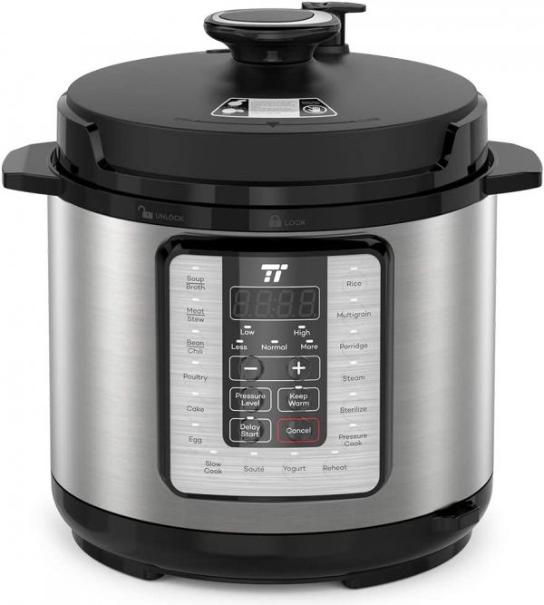 TaoTronics TT-EE006 Electric Pressure Cookbook 6QT, 10-in-1 Multi-Use, 16 Programs, Slow, Rice Cooker, Steamer, Sauté Pot, Yogurt Maker, Food Warmer, Sterilizer, 6 QT