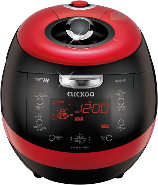 Cuckoo CRP-HZ0683FR Multifunctional and Programmable Electric Induction Heating Pressure Rice Cooker, Fuzzy Logic and Intelligent Cooking Algorithm – 6 Cups, Red