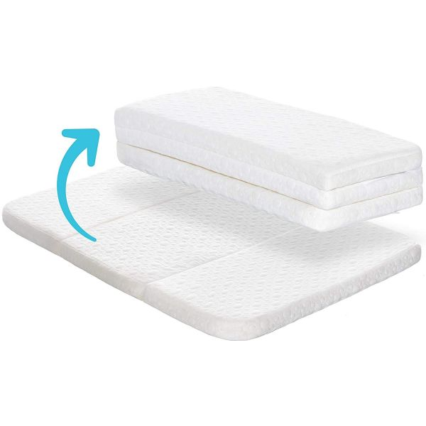Milliard Tri-Fold Pack N Play Mattress Topper - Plus Free Bonus Carry Case