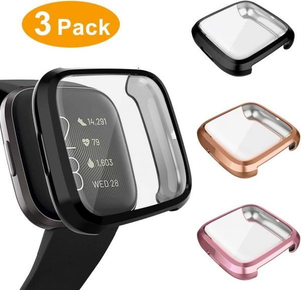 3 Pack Screen Protector Compatible Fitbit Versa 2 Case, GHIJKL Ultra-Thin Slim Soft TPU Protective Case All-Around Full Cover Bumper Shell for Fitbit Versa 2 Smartwatch, Black, Rose Gold, Rose Pink