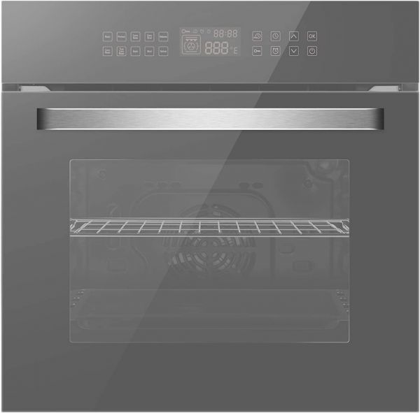 Empava 24 in. Electric Single Wall Oven Convection with 10 Cooking Functions Deluxe 360° ROTISSERIE with Sensitive Touch Control in Silver Mirror Glass Model 2020, 24 Inch