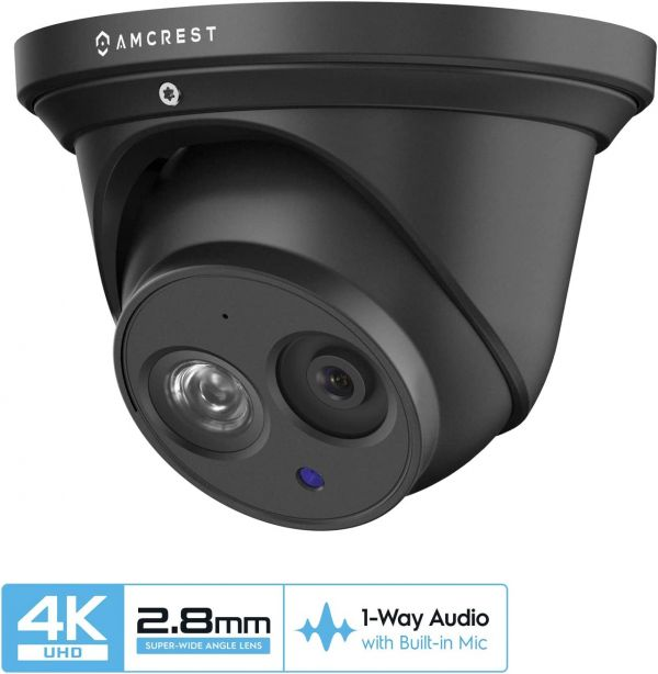 Amcrest UltraHD 4K (8MP) Outdoor Security IP Turret PoE Camera, 3840x2160, 164ft NightVision, 2.8mm Lens, IP67 Weatherproof, MicroSD Recording (128GB), Black (IP8M-T2499EB-28MM)