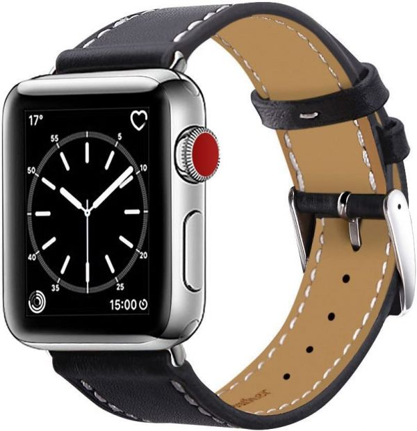 Marge Plus Compatible with Apple Watch Band 42mm 44mm, Genuine Leather Replacement Band Compatible with Apple Watch Series 4 5 (44mm) Series 3 2 1 (42mm) Sport and Edition,Black