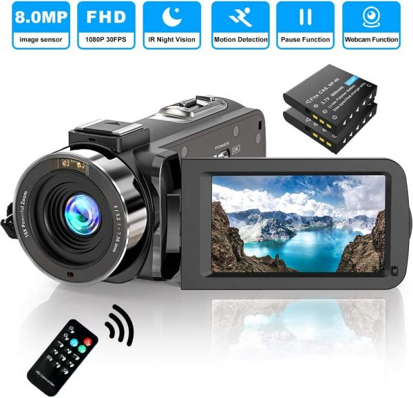 Video Camera Camcorder FHD 1080P 30FPS 36MP IR Night Vision YouTube Vlogging Camera Recorder 3.0 270 Degree Rotation IPS Screen 16X Digital Zoom Camcorder with Remote and 2 Batteries