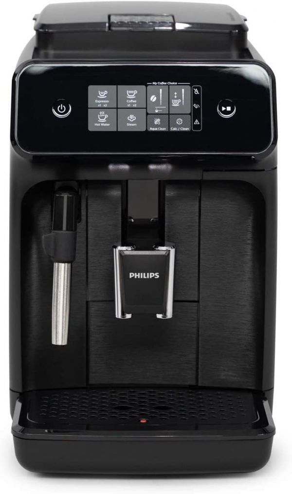 Philips Carina 1200-Series Compact Super-Automatic All-In-One Programmable Espresso Machine w/Panarello Steam Wand - EP1220/04
