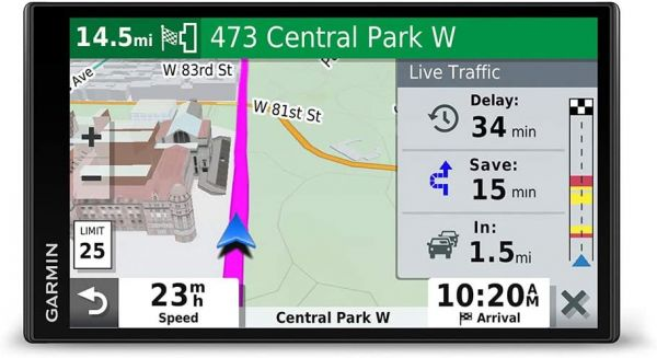 "Garmin DriveSmart 65 & Traffic:  GPS navigator with a 6.95"" display, hands-free calling, included traffic alerts and information to enrich road trips"