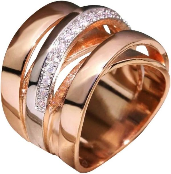 Newdiva Intertwined Crossover Statement Ring Fashion Chunky Cocktail Big Ring Wide Bands Ring for Women Men Wide Index Finger Rings Costume Jewelry Size 6-10 (6)