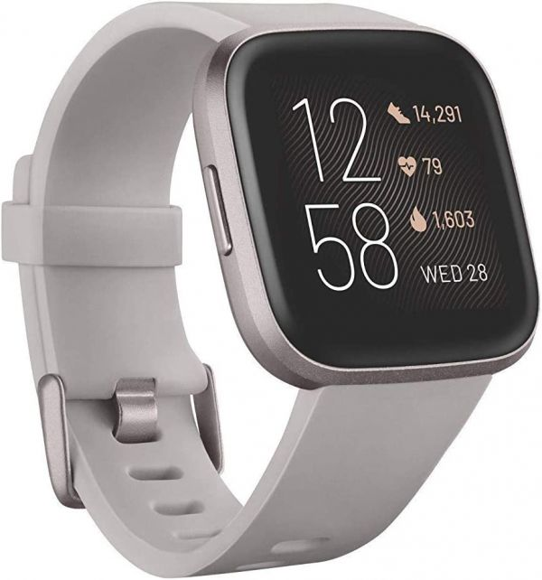 Fitbit Versa 2 Health & Fitness Smartwatch with Heart Rate, Music, Alexa Built-in, Sleep & Swim Tracking, Stone/Mist Grey, One S (Renewed)