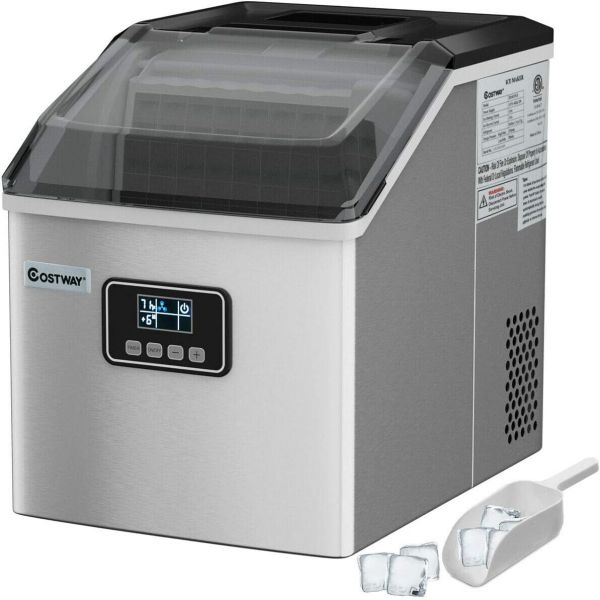 COSTWAY Ice Maker Countertop, 48LBS/24H Automatic Ice Stainless Steel Machine with Self-Cleaning Function, Easy-to-Control LCD Display, Timer Function, See-Through Window with Ice Scoop and Basket