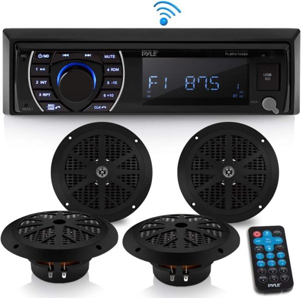 Marine Head Unit Receiver Speaker Kit - In-Dash LCD Digital Stereo Built-in Bluetooth & Microphone w/ AM FM Radio System 6.5'' Waterproof Speakers (4) MP3/SD Readers & Remote Control - Pyle PLMRKT48BK
