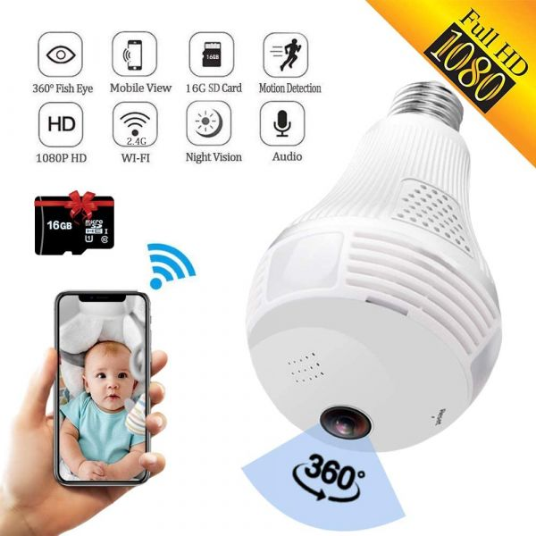 SARCCH Light Bulb Camera,Dome Surveillance Camera 1080P 2.4GHz WiFi 360 Degree Wireless Security IP Panoramic,with IR Motion Detection, Night Vision, Alarm, for Home, Office, Baby, Pet Monitor