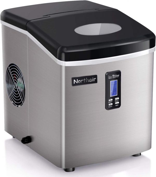 Ice Maker Portable Countertop Ice Making Machine - Bullet Ice Cubes Ready in 8 Mins - Makes 35 lbs Ice in 24 hrs - LCD Display & Ice Scoop & Bucket (Stainless Steel)