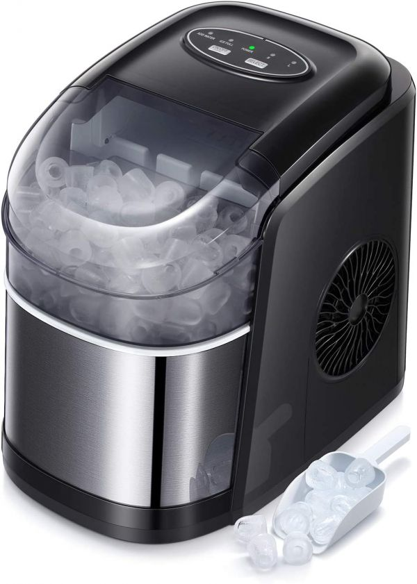 Countertop Ice Maker Portable Ice Making Machine with Self-clean Function -Bullet Ice Cubes Ready in 6 Mins - Makes 26 lbs Ice/24 hrs - Perfect for Home/Office/Bar/Kitchen, Ice Scoop & Bucket(Black)