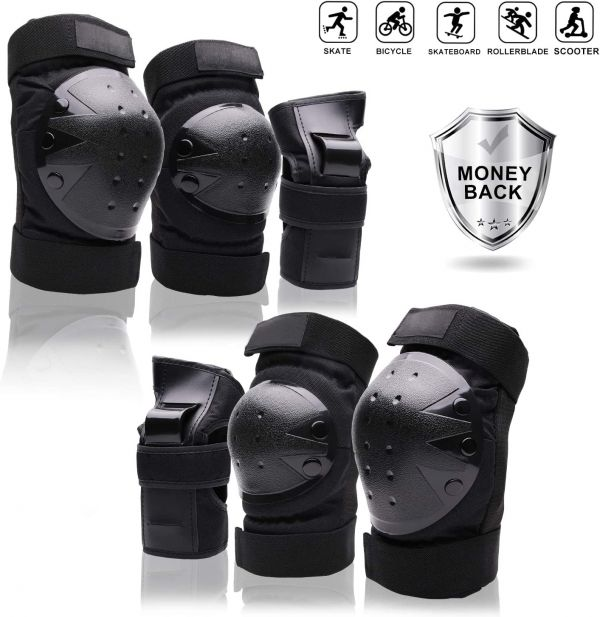 Protective Gear Set forYouth/Adult Knee Pads Elbow Pads Wrist Guards for Skateboarding Rollerblading Roller Skating Cycling Bike BMX Bicycle Scootering 3Pairs