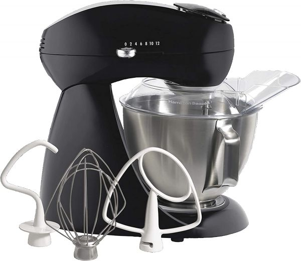Hamilton Beach Eclectrics All-Metal 12-Speed Electric Stand Mixer, Tilt-Head, 4.5 Quarts, Pouring Shield, Licorice (63227)