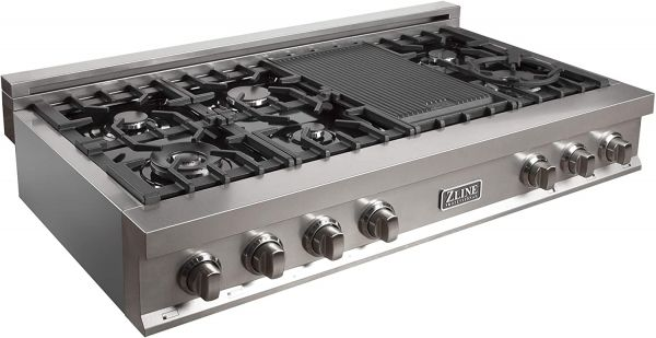 ZLINE 48 in. Porcelain Rangetop in Snow Stainless with 7 Gas Burners (RTS-48)