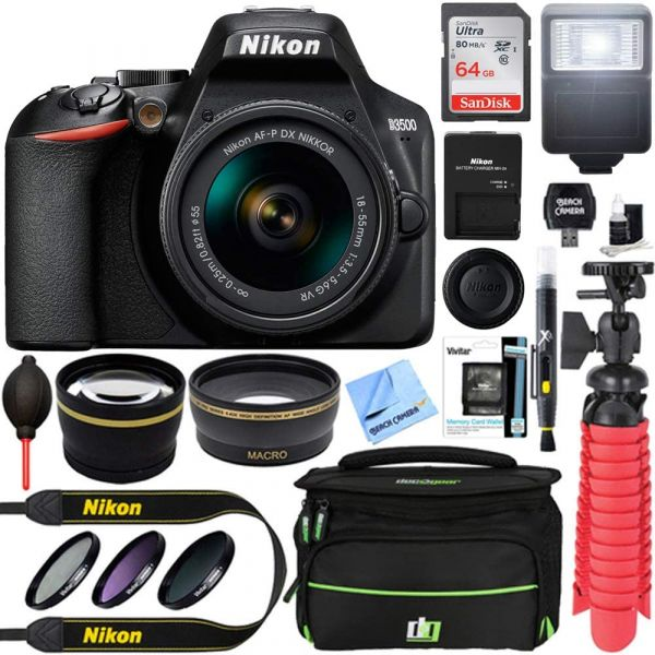 Nikon D3500 24.2MP DSLR Camera with AF-P DX NIKKOR 18-55mm f/3.5-5.6G VR Lens Bundle with 64GB Memory Card, Camera Bag, 55mm 3 Piece Pro Level Lens Filter Kit, Flash and Accessories (8 Items)