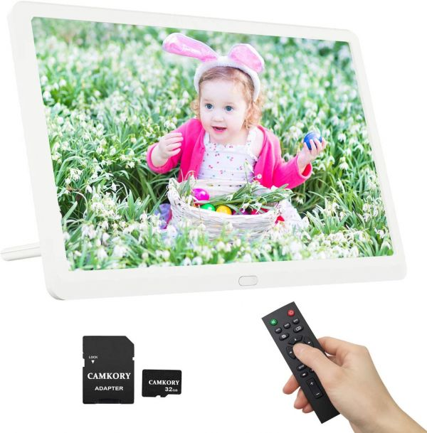 Digital Picture Frame 10 Inch 1920x1080 HD 16:9 IPS Screen Include 32GB SD Card, 1080P Video Frame, Photo Preview & Auto Rotate, Background Music, Auto Turn On/Off, Auto Play, Calendar, Alarm Clock