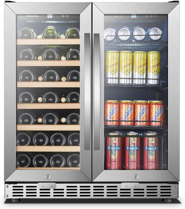 30 Inch Wide Sinoartizan Wine and Drink Fridge Cooler, 33 Bottles and 70 Cans
