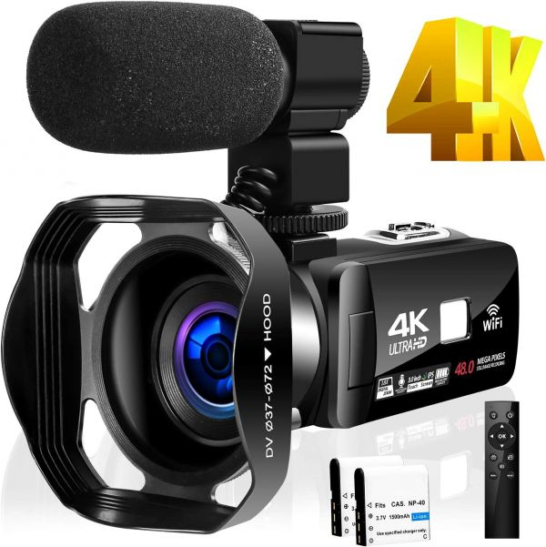 4K Camcorder Video Camera for YouTube HD 48MP 30FPS 16X Digital Zoom Camera 3.0 inch Touch Screen IR Night Vision with External Microphone and Remote Control